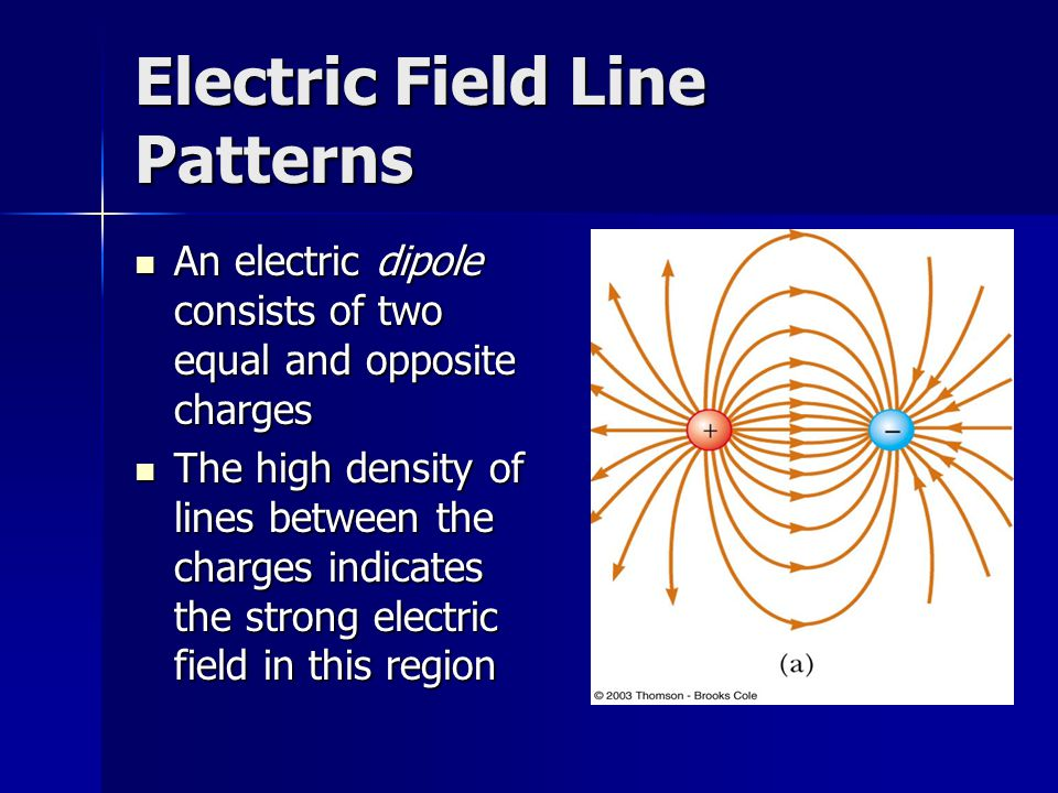Electric Field Line Patterns An electric dipole consists of two equal and opposite charges An electric dipole consists of two equal and opposite charg