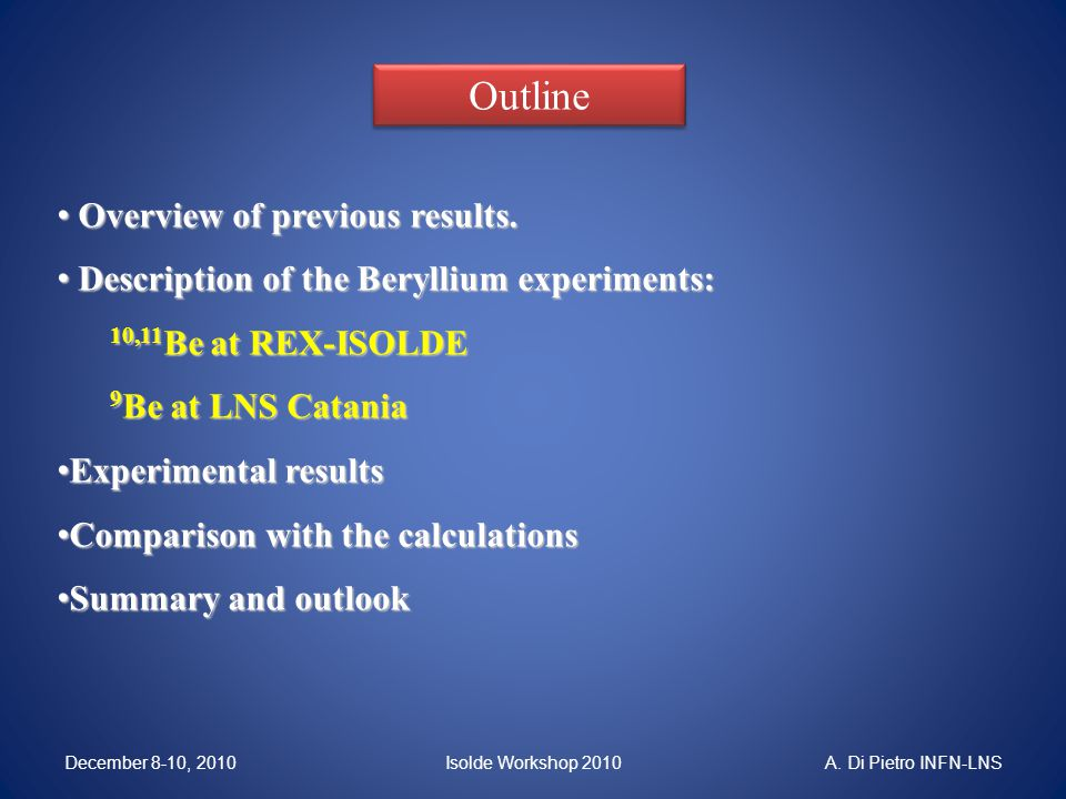 Summary and outlook The collisions 9,10,11 Be + 64 Zn have shown: Damping of elastic cross-section for the reaction induced by the 11 Be nucleus when compared with both 9 Be (S n =1.67 MeV) and 10 Be (S n =6.8MeV).