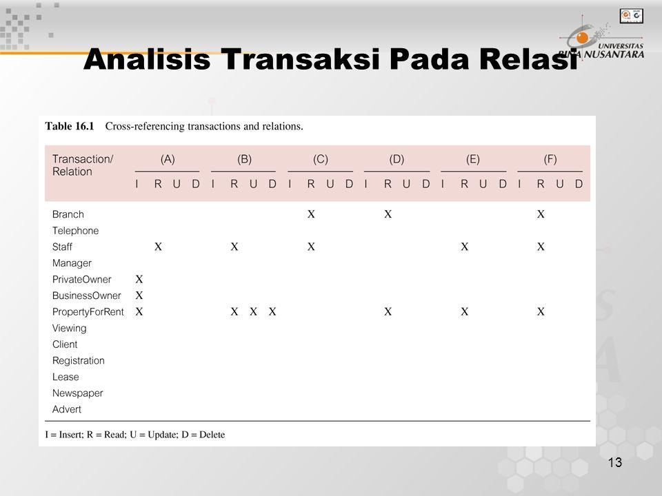 13 Analisis Transaksi Pada Relasi