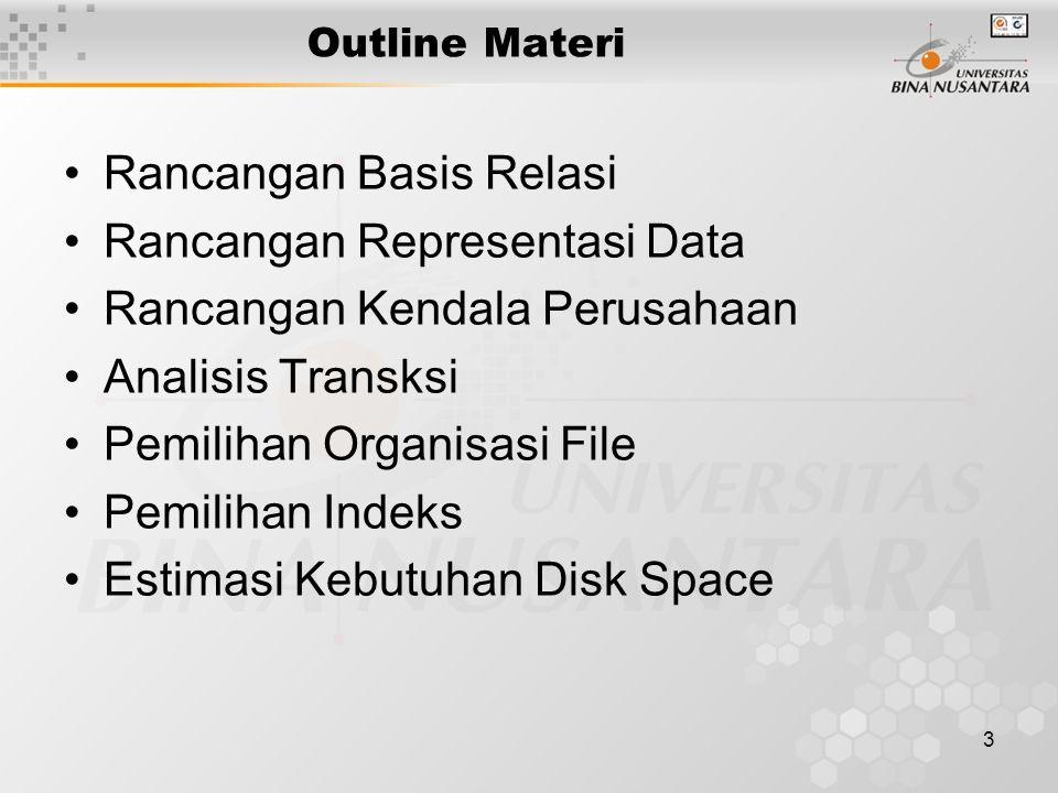3 Outline Materi Rancangan Basis Relasi Rancangan Representasi Data Rancangan Kendala Perusahaan Analisis Transksi Pemilihan Organisasi File Pemilihan Indeks Estimasi Kebutuhan Disk Space