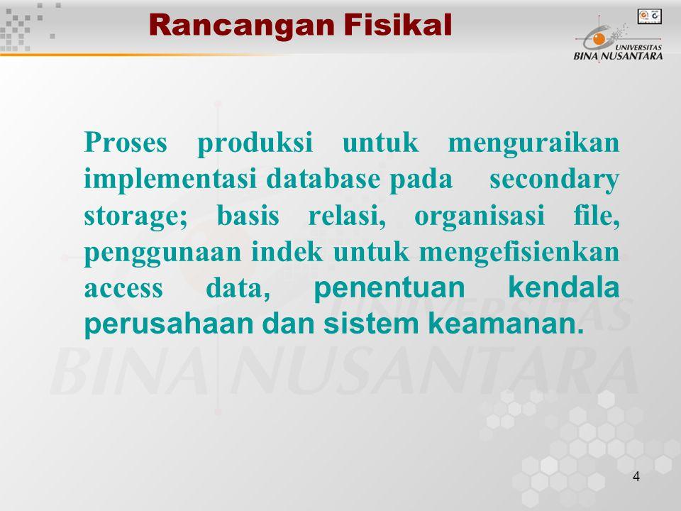 4 Rancangan Fisikal Proses produksi untuk menguraikan implementasi database pada secondary storage; basis relasi, organisasi file, penggunaan indek untuk mengefisienkan access data, penentuan kendala perusahaan dan sistem keamanan.