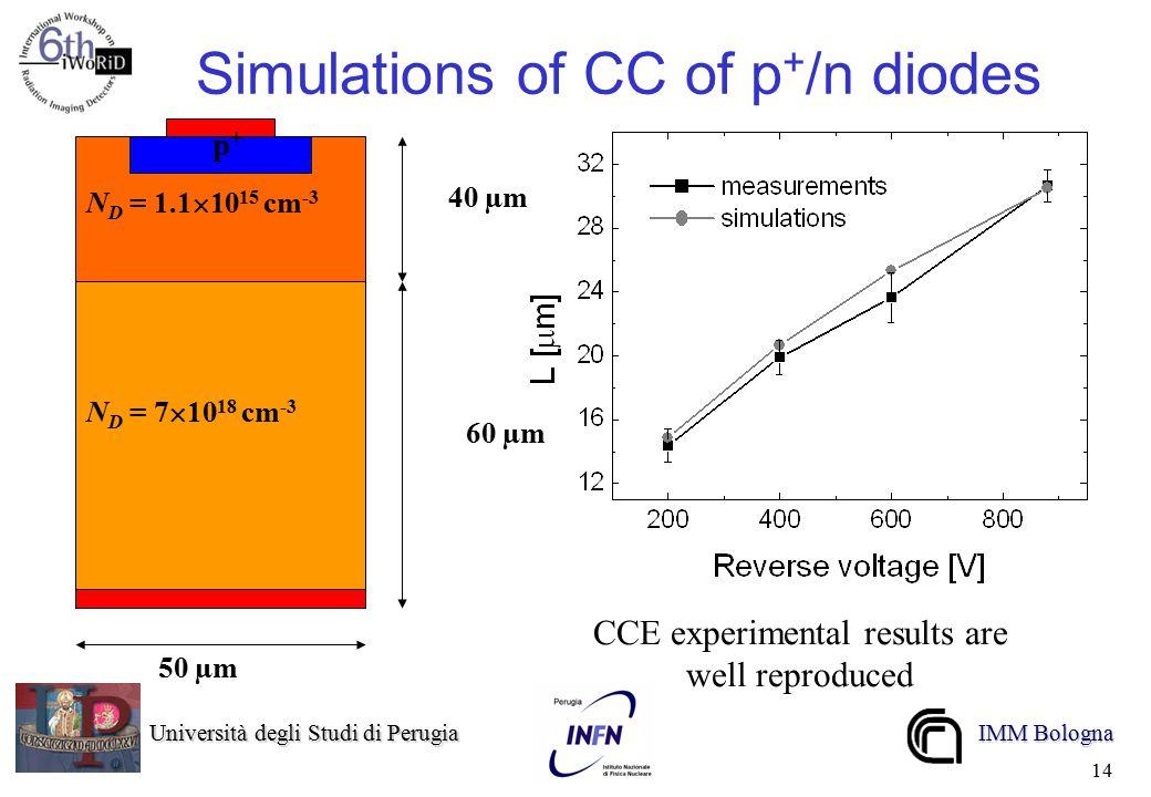 Università degli Studi di Perugia Università degli Studi di Perugia IMM Bologna 14 Simulations of CC of p + /n diodes N D = 1.1  10 15 cm -3 N D = 7  10 18 cm -3 p+p+ 40 µm 60 µm 50 µm CCE experimental results are well reproduced