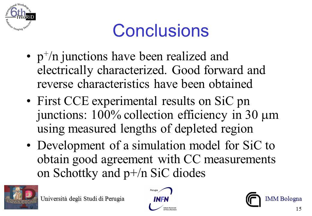 Università degli Studi di Perugia Università degli Studi di Perugia IMM Bologna 15 Conclusions p + /n junctions have been realized and electrically characterized.