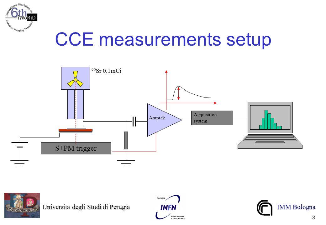 Università degli Studi di Perugia Università degli Studi di Perugia IMM Bologna 8 CCE measurements setup Amptek S+PM trigger Acquisition system 90 Sr 0.1mCi