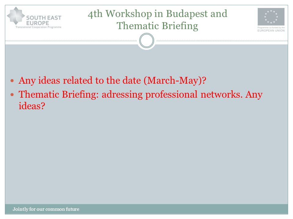 4th Workshop in Budapest and Thematic Briefing Any ideas related to the date (March-May)? Thematic Briefing: adressing professional networks. Any idea