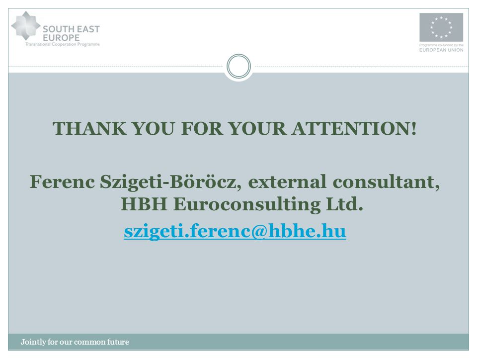 THANK YOU FOR YOUR ATTENTION! Ferenc Szigeti-Böröcz, external consultant, HBH Euroconsulting Ltd. szigeti.ferenc@hbhe.hu