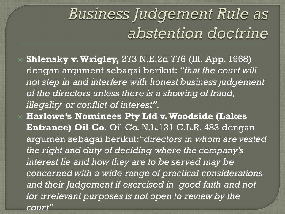  Shlensky v. Wrigley, 273 N.E.2d 776 (III. App.