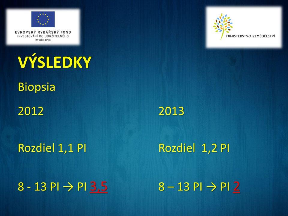 VÝSLEDKY Biopsia 2012 Rozdiel 1,1 PI 8 - 13 PI → PI 3,5 2013 Rozdiel 1,2 PI 8 – 13 PI → PI 2