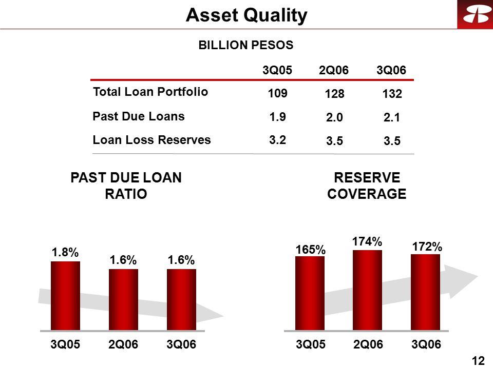 12 Asset Quality BILLION PESOS Past Due Loans Loan Loss Reserves RESERVE COVERAGE PAST DUE LOAN RATIO Total Loan Portfolio 3Q052Q063Q06 1.9 3.2 109 2.0 3.5 128 2.1 3.5 132 172% 165% 174% 3Q052Q063Q06 1.6% 1.8% 1.6% 3Q052Q063Q06