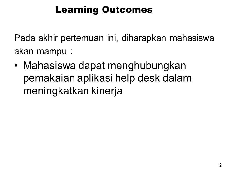 2 Learning Outcomes Pada akhir pertemuan ini, diharapkan mahasiswa akan mampu : Mahasiswa dapat menghubungkan pemakaian aplikasi help desk dalam meningkatkan kinerja