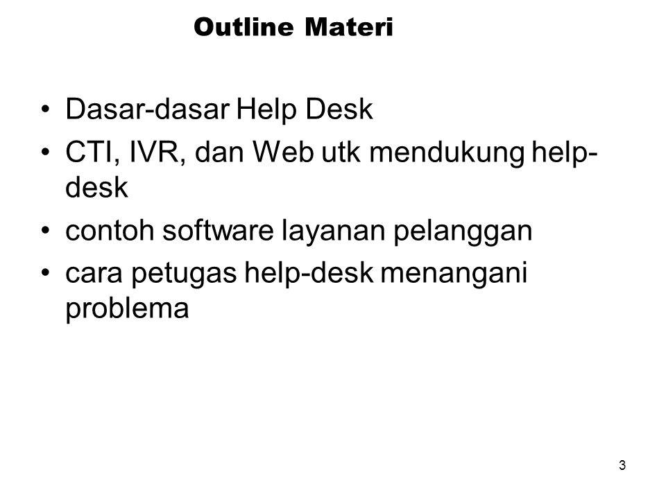 3 Outline Materi Dasar-dasar Help Desk CTI, IVR, dan Web utk mendukung help- desk contoh software layanan pelanggan cara petugas help-desk menangani problema