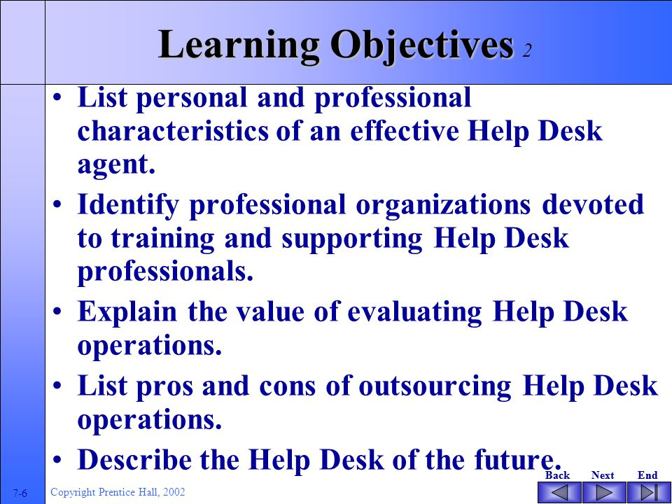 BackNextEndBackNextEnd 7-6 Copyright Prentice Hall, 2002 Learning Objectives List personal and professional characteristics of an effective Help Desk agent.