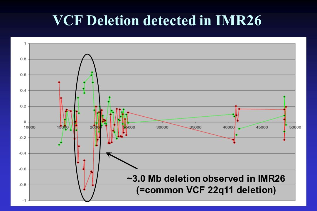 ~3.0 Mb deletion observed in IMR26 (=common VCF 22q11 deletion) VCF Deletion detected in IMR26