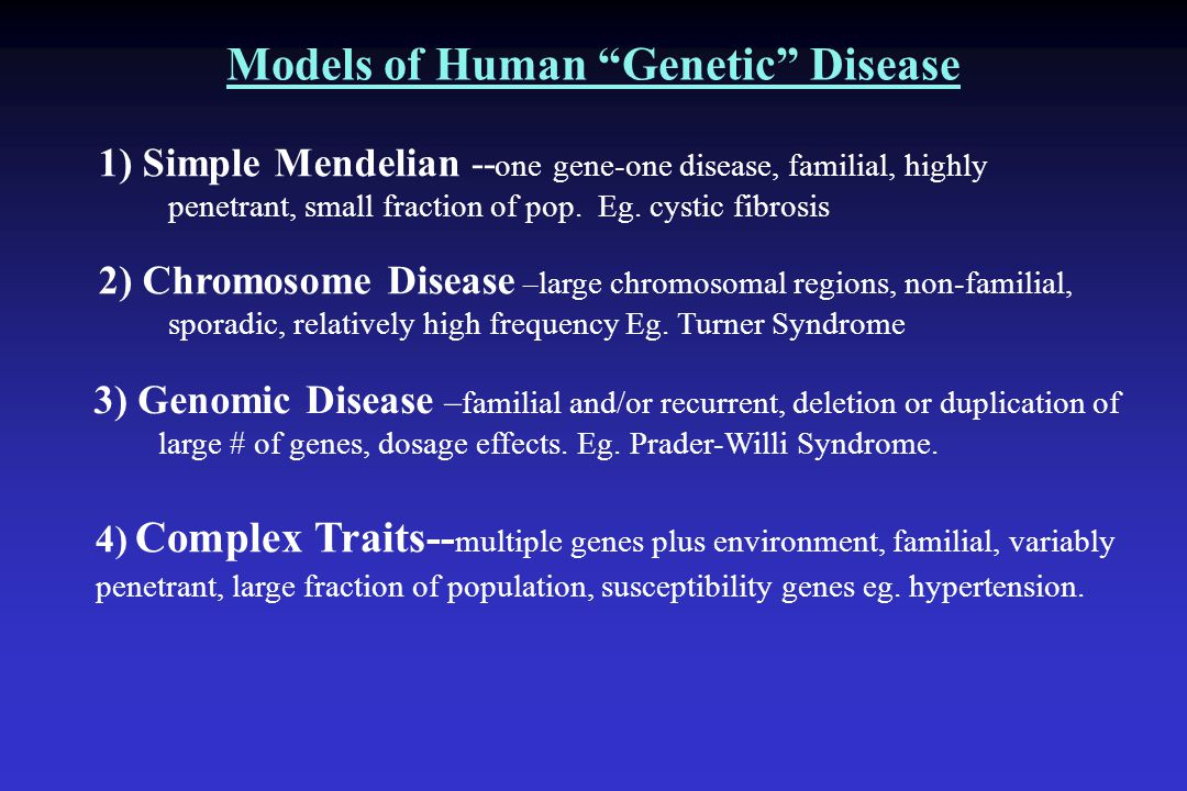 Models of Human Genetic Disease 1) Simple Mendelian -- one gene-one disease, familial, highly penetrant, small fraction of pop.