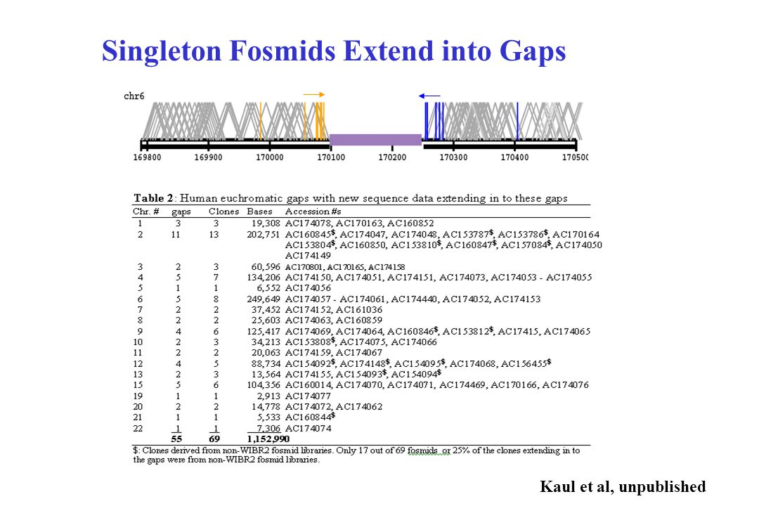 Singleton Fosmids Extend into Gaps Kaul et al, unpublished