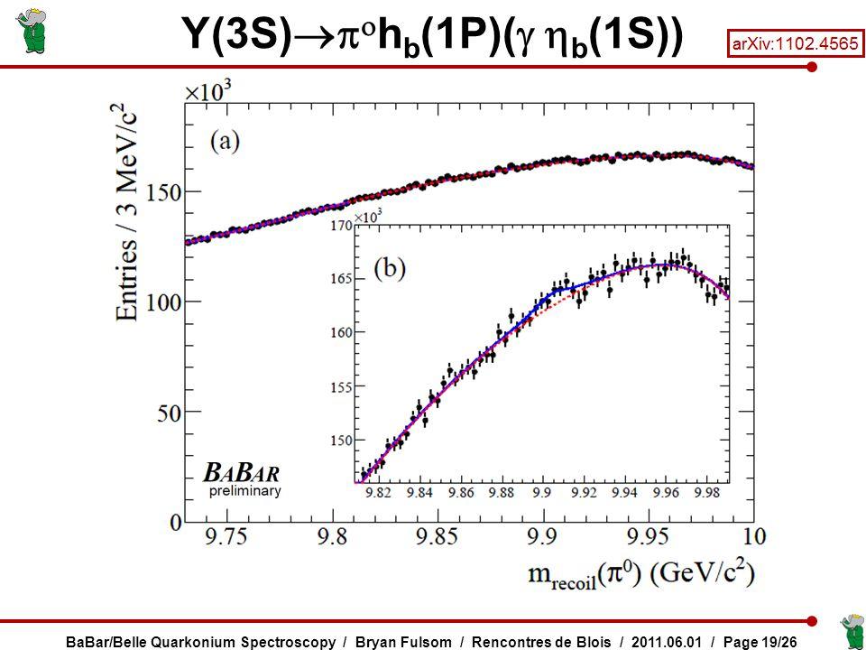 Y(3S)   h b (1P)(   b (1S)) BaBar/Belle Quarkonium Spectroscopy / Bryan Fulsom / Rencontres de Blois / 2011.06.01 / Page 19/26