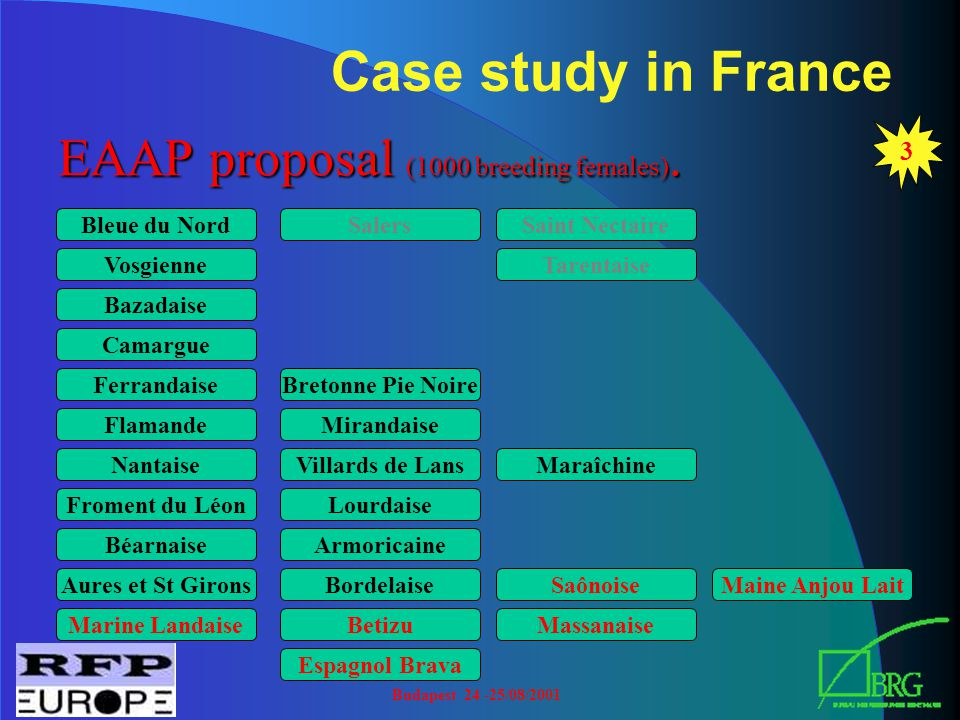 Budapest 24 -25/08/2001 Case study in France 3 EAAP proposal (1000 breeding females).