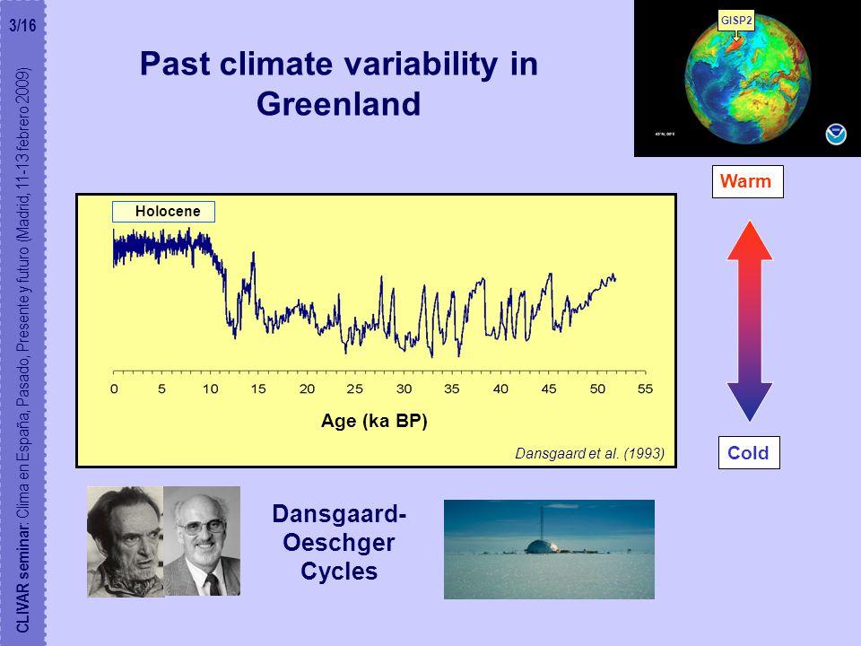Past climate variability in Greenland GISP2 Dansgaard- Oeschger Cycles Holocene CLIVAR seminar : Clima en España, Pasado, Presente y futuro (Madrid, 11-13 febrero 2009) 3/16 Warm Cold Age (ka BP) Dansgaard et al.