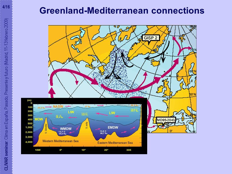 Greenland-Mediterranean connections CLIVAR seminar : Clima en España, Pasado, Presente y futuro (Madrid, 11-13 febrero 2009) 4/16