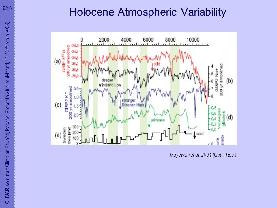Holocene Atmospheric Variability CLIVAR seminar : Clima en España, Pasado, Presente y futuro (Madrid, 11-13 febrero 2009) Mayewski et al.
