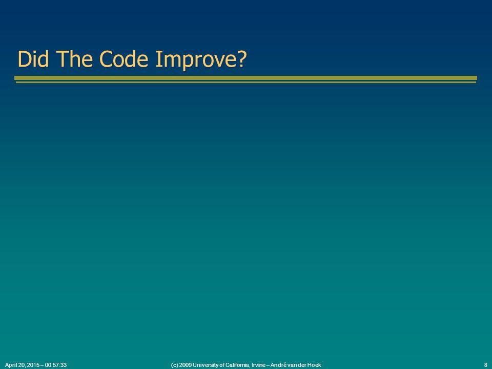(c) 2009 University of California, Irvine – André van der Hoek9April 20, 2015 – 00:59:05 What Do You Think of Design Patterns Now?