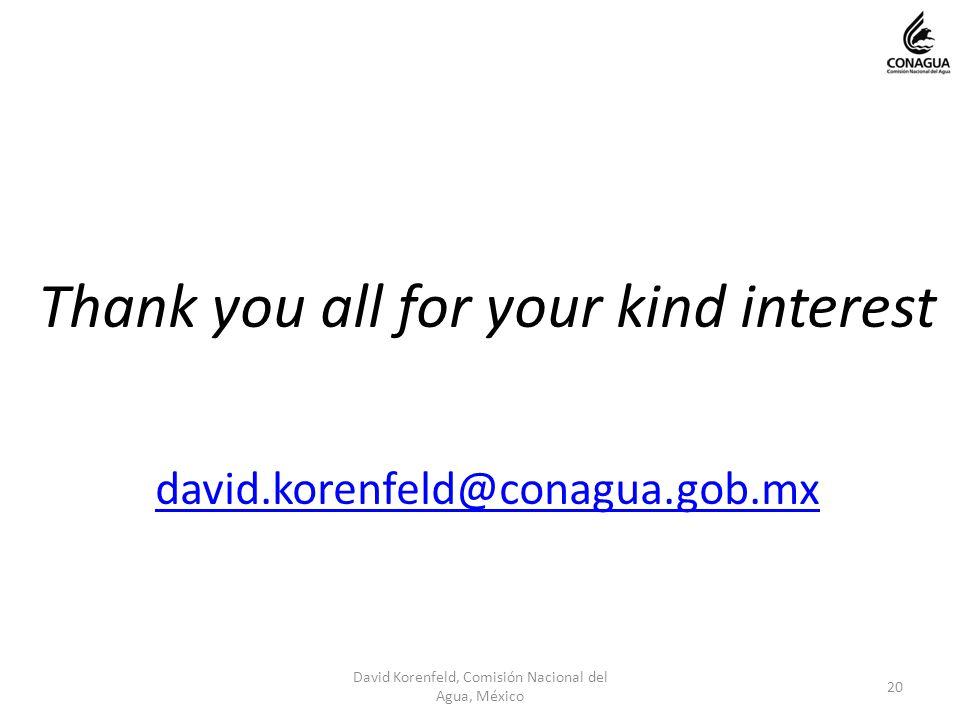 Thank you all for your kind interest david.korenfeld@conagua.gob.mx 20 David Korenfeld, Comisión Nacional del Agua, México