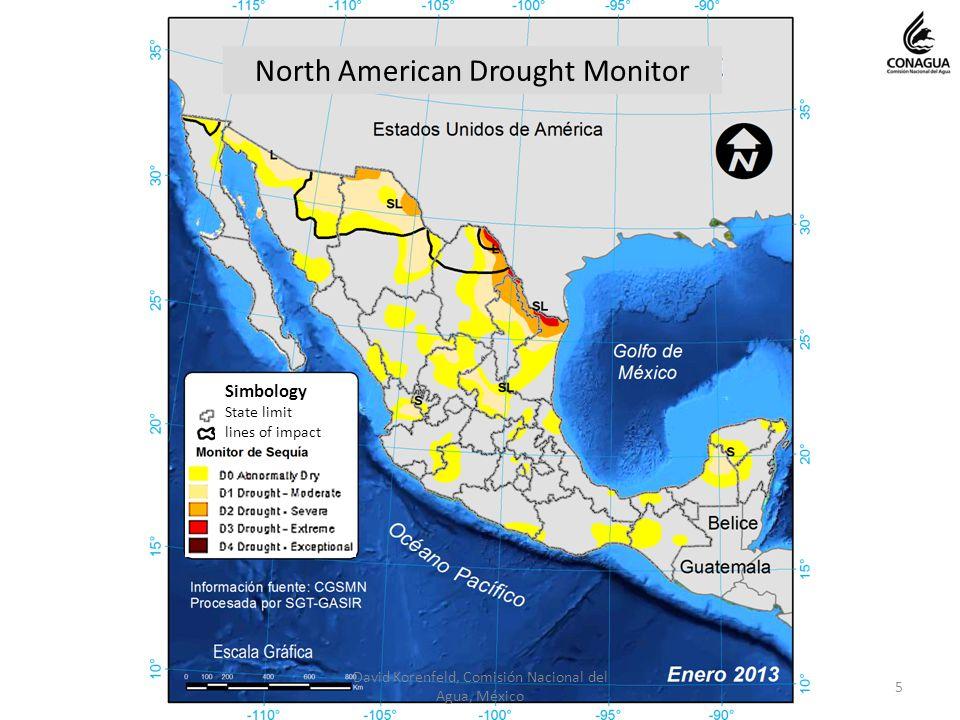 5 David Korenfeld, Comisión Nacional del Agua, México North American Drought Monitor Simbology State limit lines of impact
