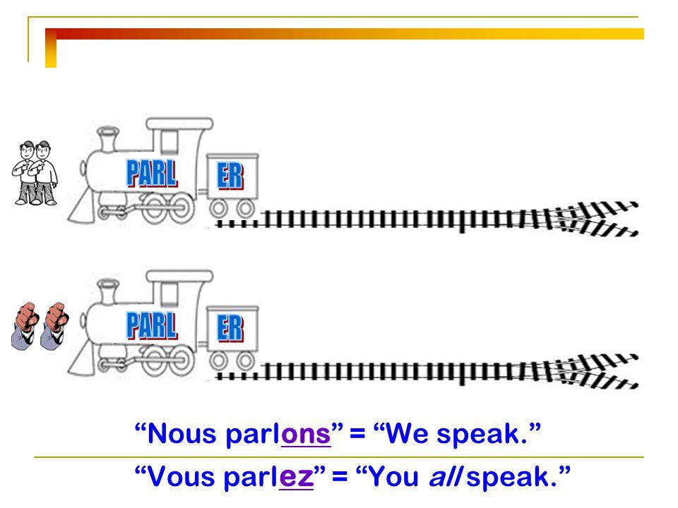 """Nous parl ons"" = ""We speak."" ""Vous parl ez "" = ""You all speak."""