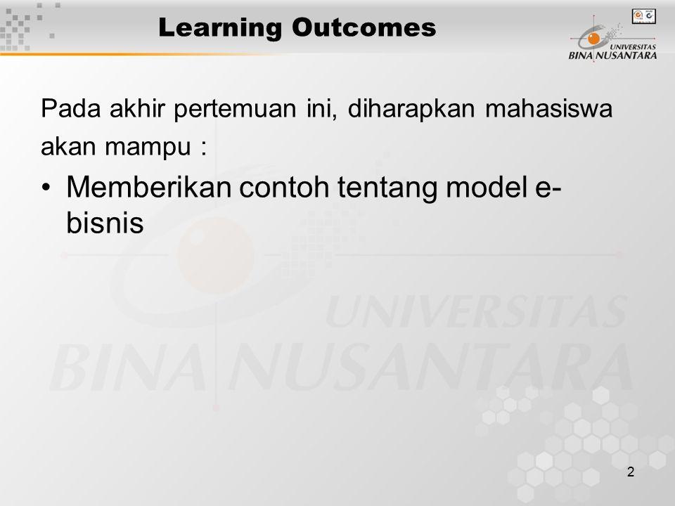 2 Learning Outcomes Pada akhir pertemuan ini, diharapkan mahasiswa akan mampu : Memberikan contoh tentang model e- bisnis