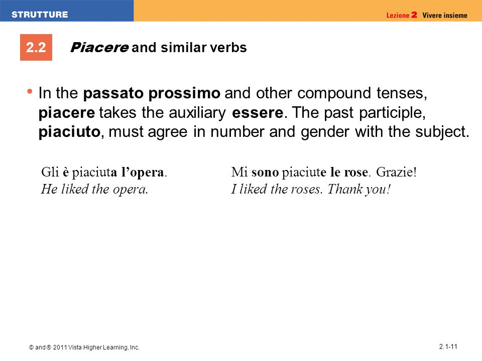 2.2 © and ® 2011 Vista Higher Learning, Inc. 2.1-11 Piacere and similar verbs In the passato prossimo and other compound tenses, piacere takes the aux