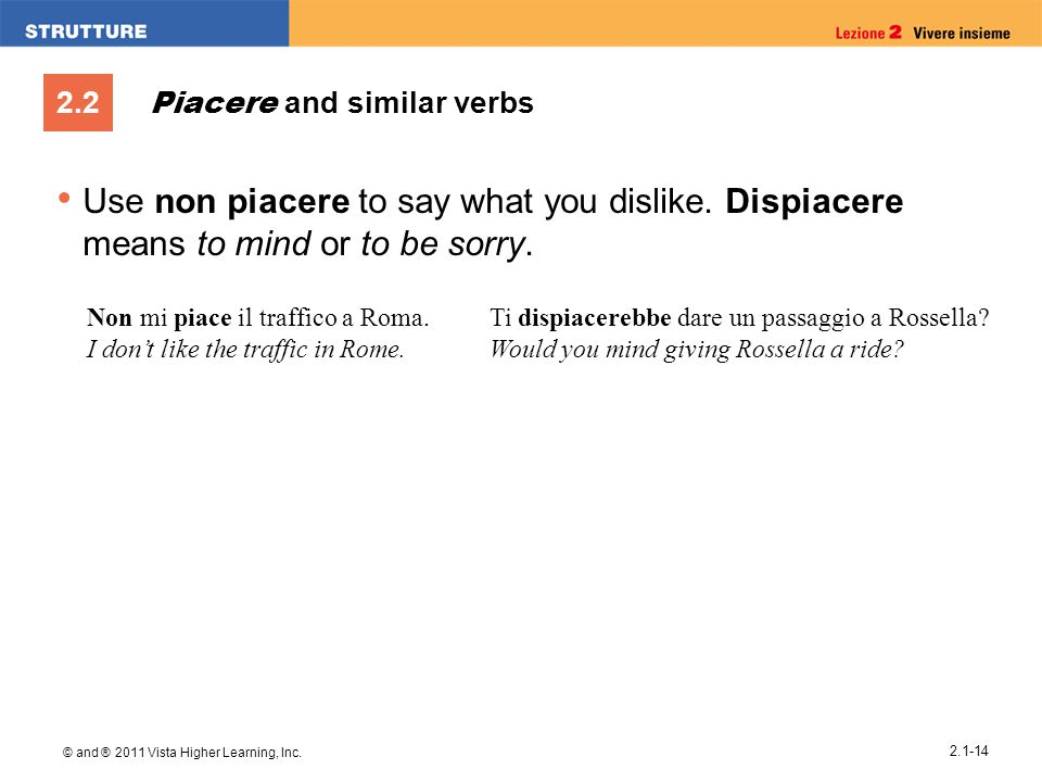 2.2 © and ® 2011 Vista Higher Learning, Inc. 2.1-14 Piacere and similar verbs Use non piacere to say what you dislike. Dispiacere means to mind or to
