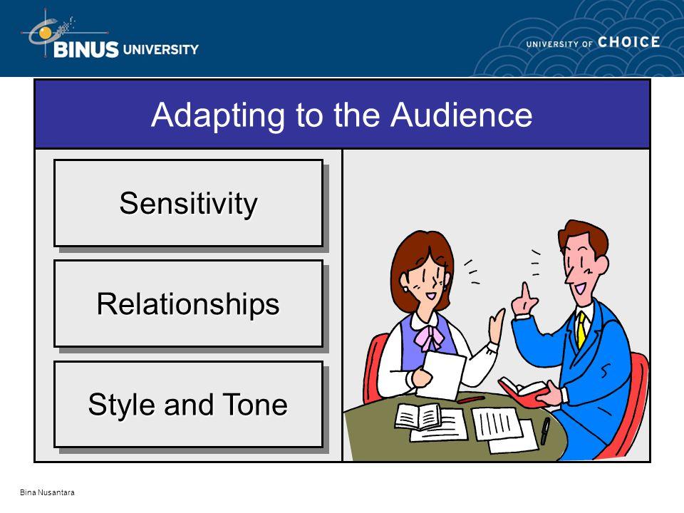 Bina Nusantara Adapting to the Audience RelationshipsRelationships SensitivitySensitivity Style and Tone