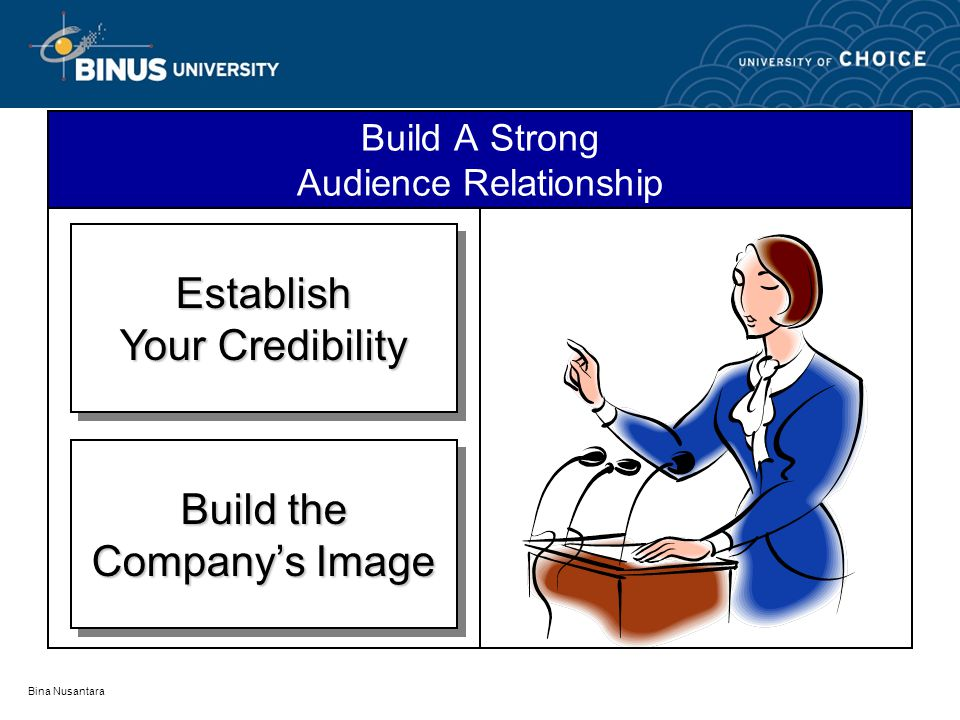 Bina Nusantara Build A Strong Audience Relationship Establish Your Credibility Establish Build the Company's Image Build the Company's Image