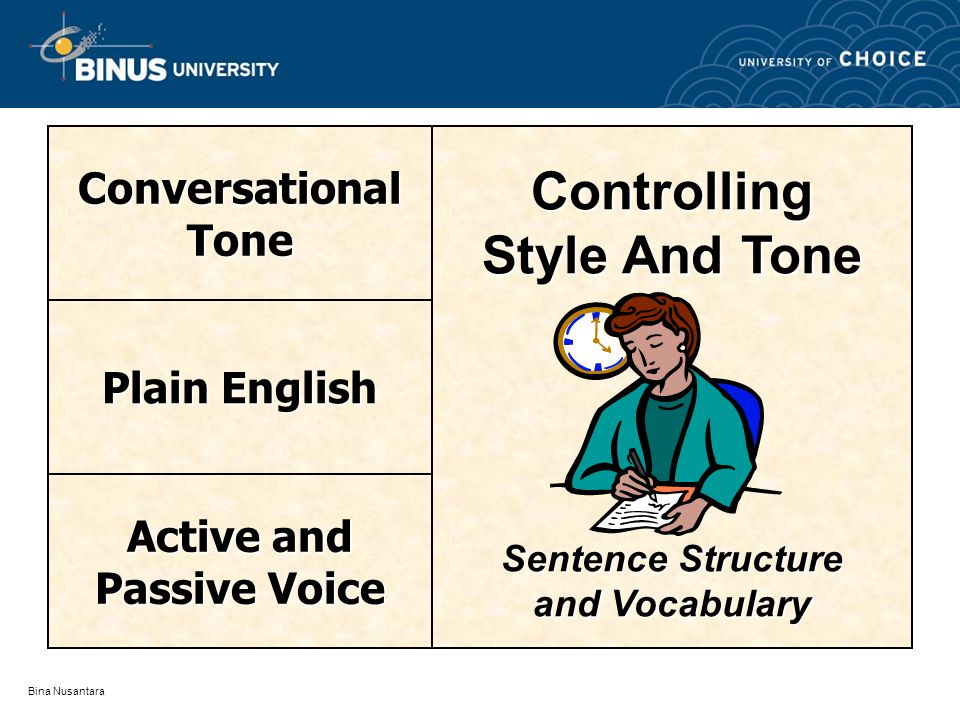 Bina Nusantara Controlling Style And Tone Sentence Structure and Vocabulary ConversationalTone Plain English Active and Passive Voice