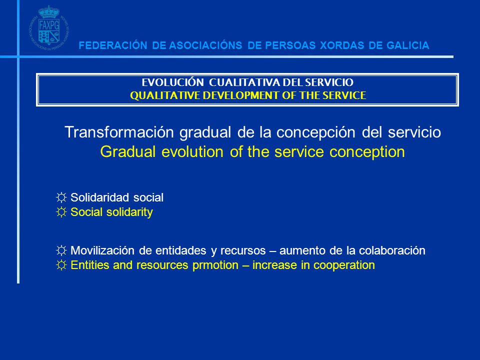 FEDERACIÓN DE ASOCIACIÓNS DE PERSOAS XORDAS DE GALICIA ☼ Solidaridad social ☼ Social solidarity ☼ Movilización de entidades y recursos – aumento de la colaboración ☼ Entities and resources prmotion – increase in cooperation Transformación gradual de la concepción del servicio Gradual evolution of the service conception EVOLUCIÓN CUALITATIVA DEL SERVICIO QUALITATIVE DEVELOPMENT OF THE SERVICE