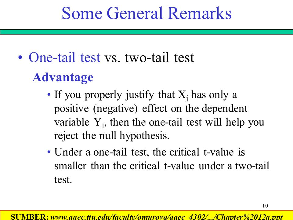 10 Some General Remarks One-tail test vs.