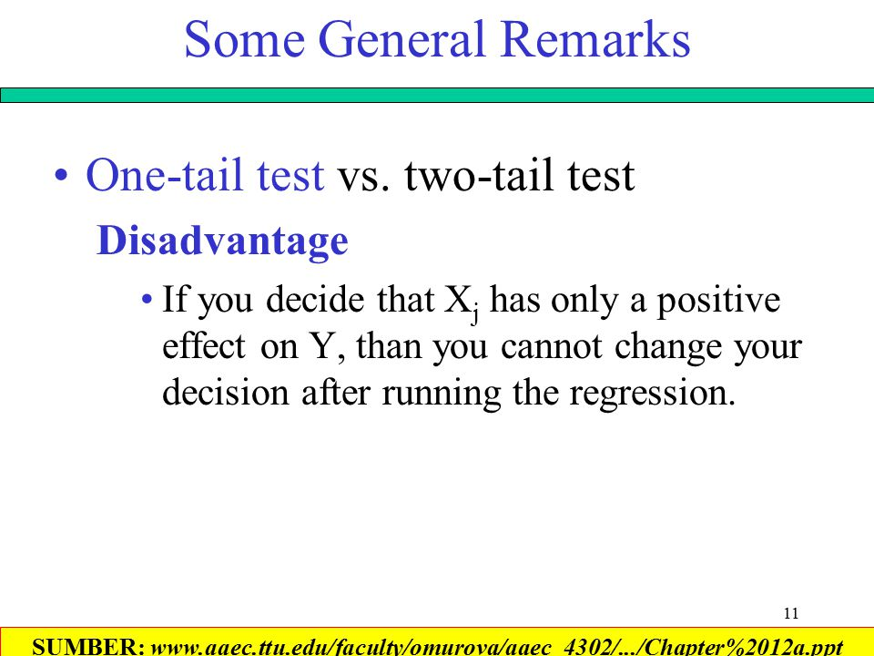 11 Some General Remarks One-tail test vs.