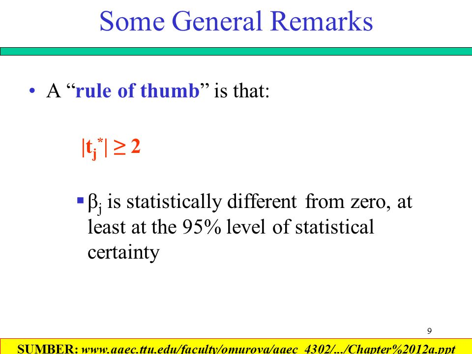 9 Some General Remarks A rule of thumb is that: |t j * | ≥ 2  β j is statistically different from zero, at least at the 95% level of statistical certainty SUMBER: www.aaec.ttu.edu/faculty/omurova/aaec_4302/.../Chapter%2012a.ppt‎