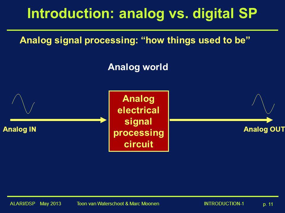 ALARI/DSP May 2013 p. 11 Toon van Waterschoot & Marc Moonen INTRODUCTION-1 Introduction: analog vs. digital SP Analog electrical signal processing cir