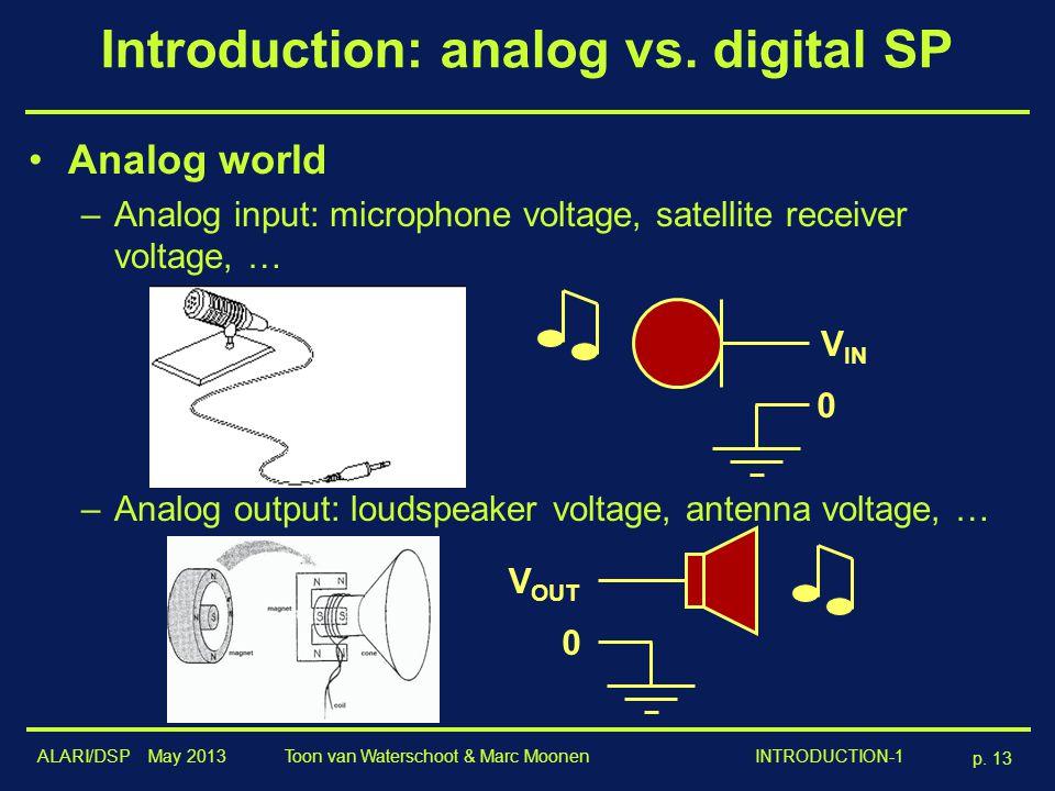 ALARI/DSP May 2013 p. 13 Toon van Waterschoot & Marc Moonen INTRODUCTION-1 Introduction: analog vs. digital SP Analog world –Analog input: microphone