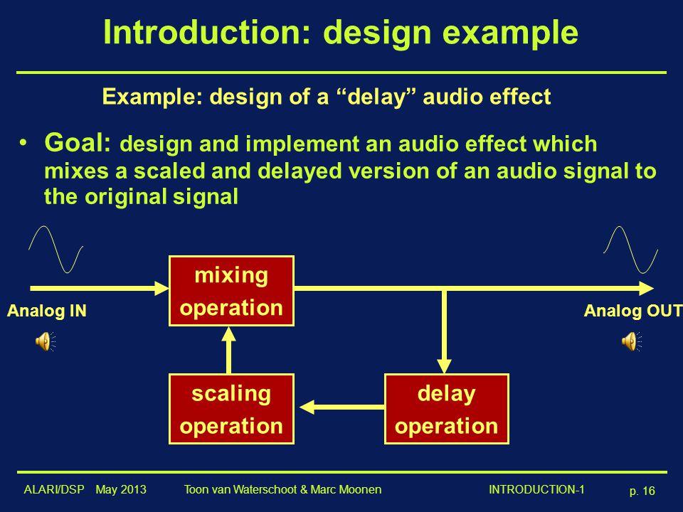 """ALARI/DSP May 2013 p. 16 Toon van Waterschoot & Marc Moonen INTRODUCTION-1 Introduction: design example Example: design of a """"delay"""" audio effect Goal"""