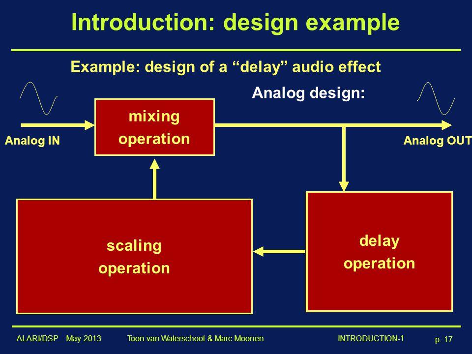"ALARI/DSP May 2013 p. 17 Toon van Waterschoot & Marc Moonen INTRODUCTION-1 Introduction: design example Analog design: Example: design of a ""delay"" au"