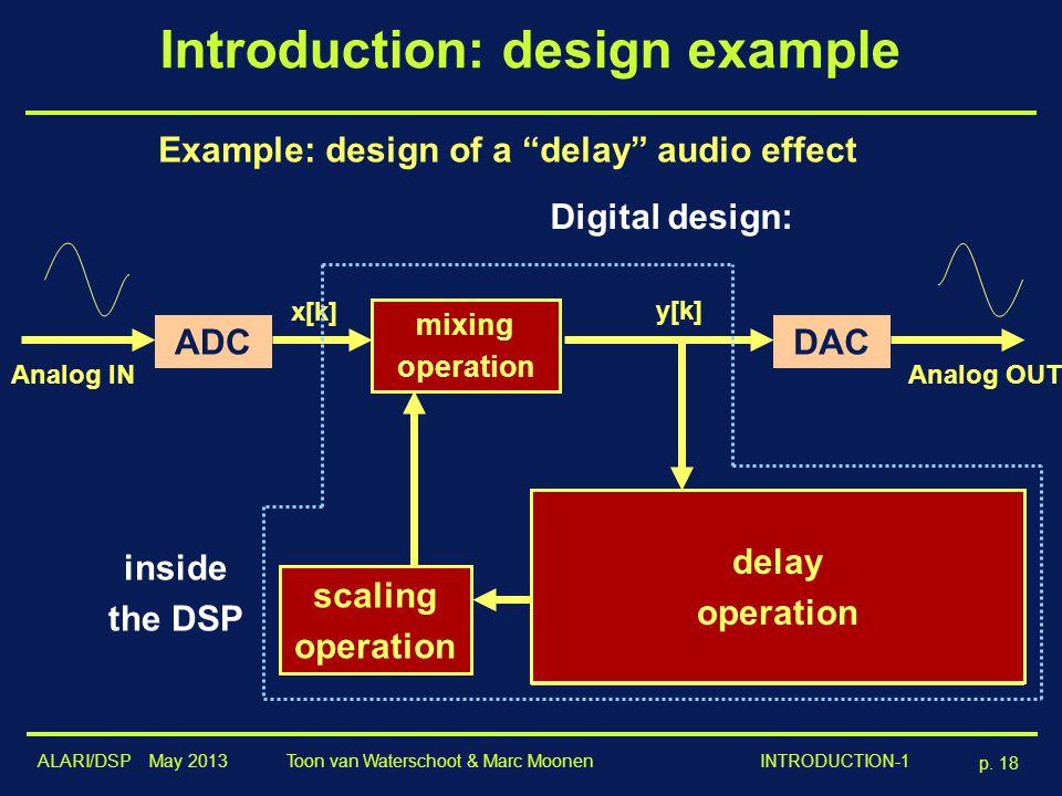 """ALARI/DSP May 2013 p. 18 Toon van Waterschoot & Marc Moonen INTRODUCTION-1 Introduction: design example Digital design: Example: design of a """"delay"""" a"""