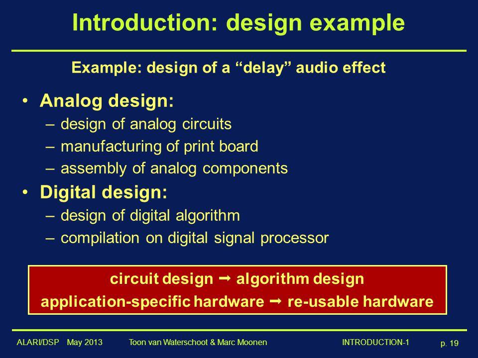 "ALARI/DSP May 2013 p. 19 Toon van Waterschoot & Marc Moonen INTRODUCTION-1 Introduction: design example Example: design of a ""delay"" audio effect Anal"