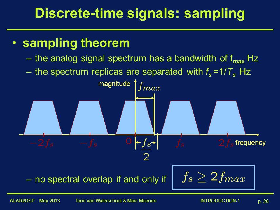 ALARI/DSP May 2013 p. 26 Toon van Waterschoot & Marc Moonen INTRODUCTION-1 Discrete-time signals: sampling sampling theorem –the analog signal spectru