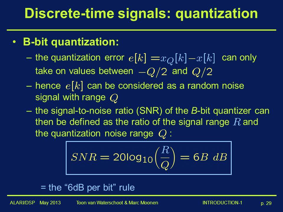 ALARI/DSP May 2013 p. 29 Toon van Waterschoot & Marc Moonen INTRODUCTION-1 Discrete-time signals: quantization B-bit quantization: –the quantization e