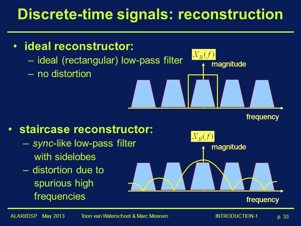 ALARI/DSP May 2013 p. 33 Toon van Waterschoot & Marc Moonen INTRODUCTION-1 Discrete-time signals: reconstruction ideal reconstructor: –ideal (rectangu