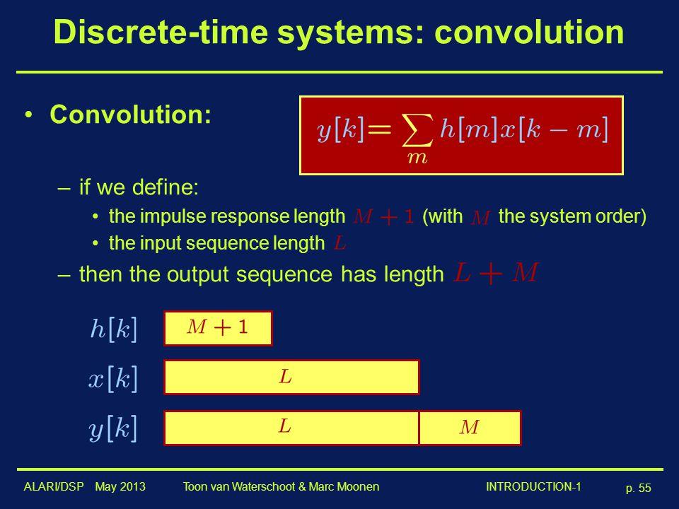 ALARI/DSP May 2013 p. 55 Toon van Waterschoot & Marc Moonen INTRODUCTION-1 Discrete-time systems: convolution Convolution: –if we define: the impulse