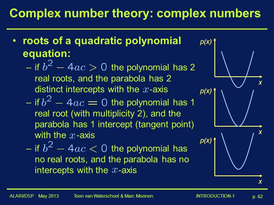 ALARI/DSP May 2013 p. 62 Toon van Waterschoot & Marc Moonen INTRODUCTION-1 Complex number theory: complex numbers roots of a quadratic polynomial equa