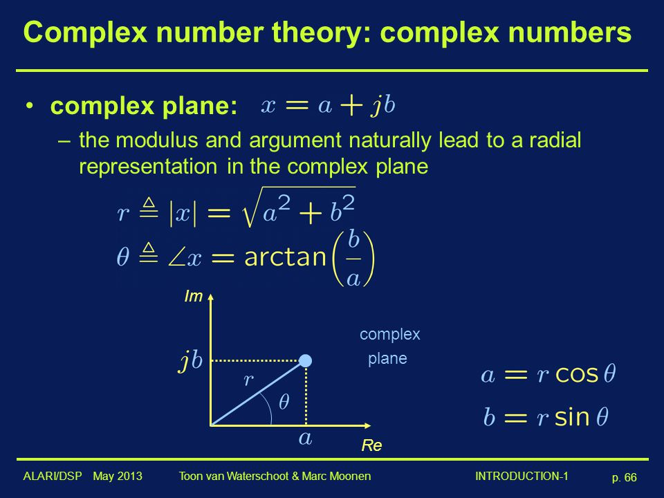 ALARI/DSP May 2013 p. 66 Toon van Waterschoot & Marc Moonen INTRODUCTION-1 Complex number theory: complex numbers complex plane: –the modulus and argu